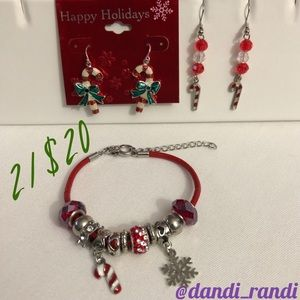 Candy Cane Bracelet & Earrings 2 Pairs